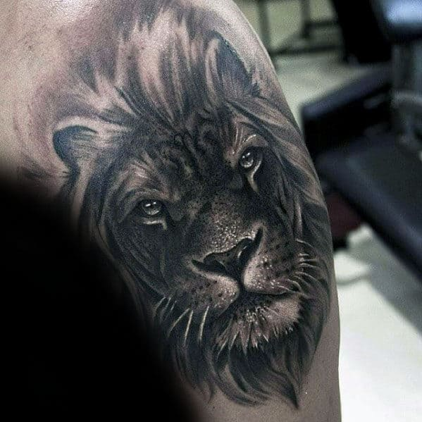 Arm Guys Manly Realistic Lion Tattoo