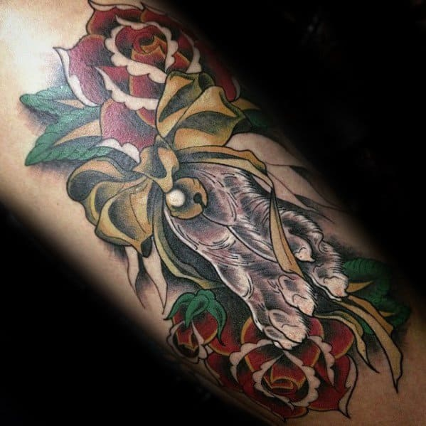 Arm Guys Rabbit Foot With Rose Flowers 3d Tattoos