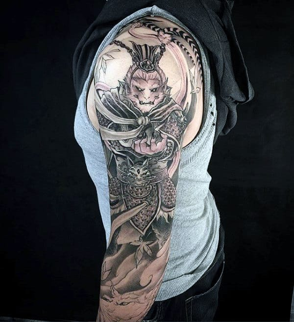 Arm Half Sleeve Monkey King Tattoo Designs For Gentlemen