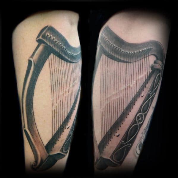 60 Harp Tattoo Designs For Men Musical Instrument Ink Ideas