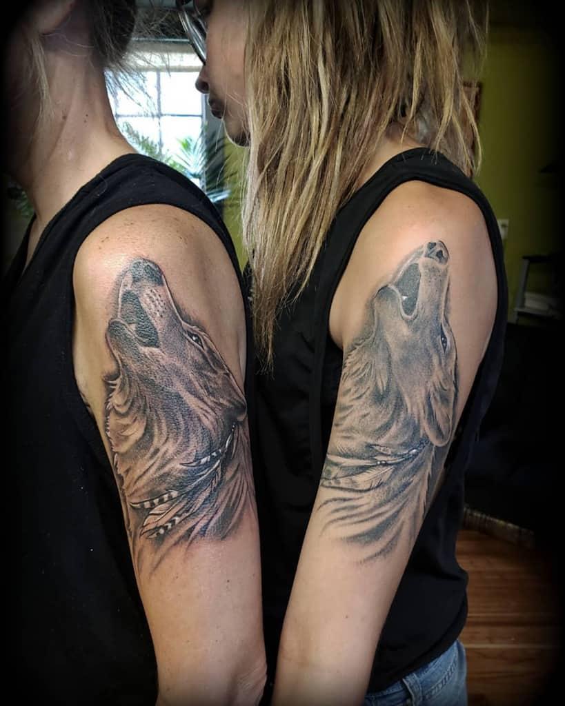 arm howling wolf tattoo alleycattattoomercersburg