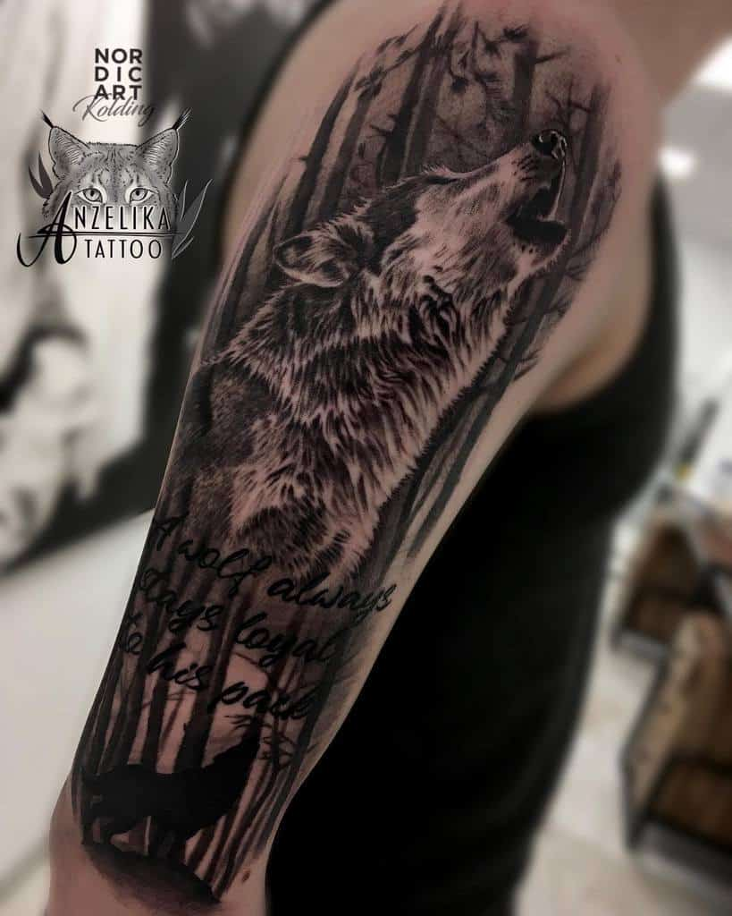 arm howling wolf tattoo anzelika.tattoo