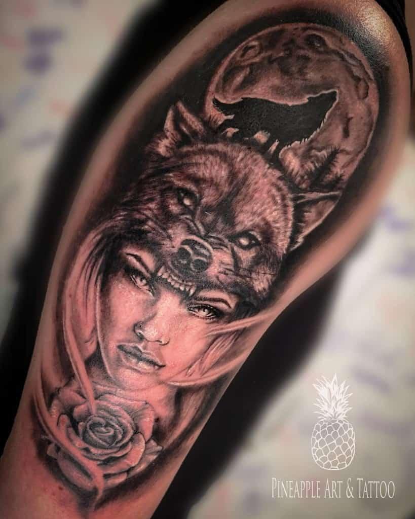arm howling wolf tattoo pineappleartandtattoo