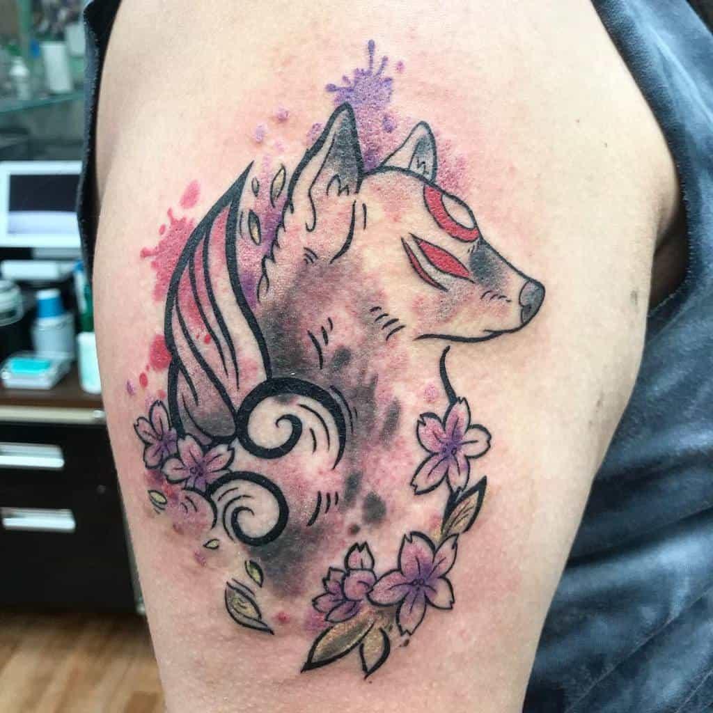 arm japanese wolf tattoo chelsietattoos