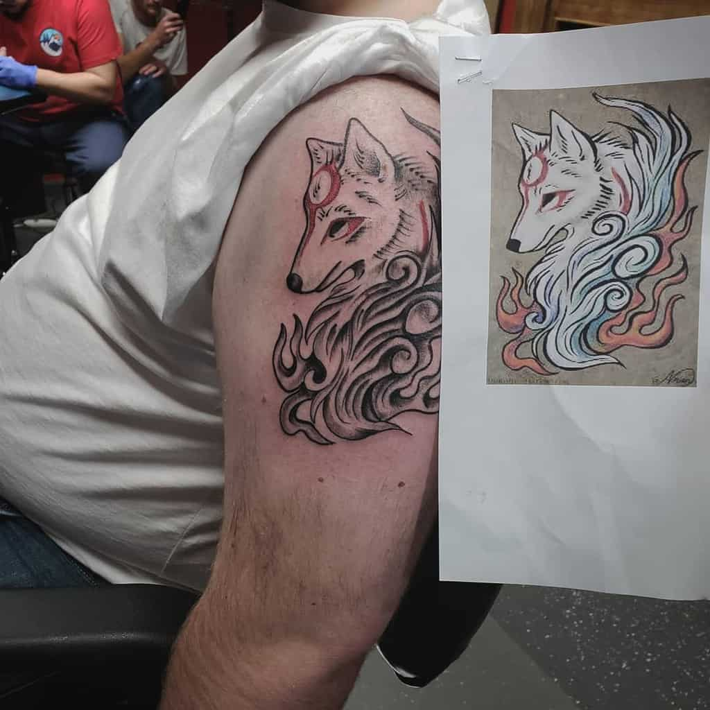 arm japanese wolf tattoo gaboyzink