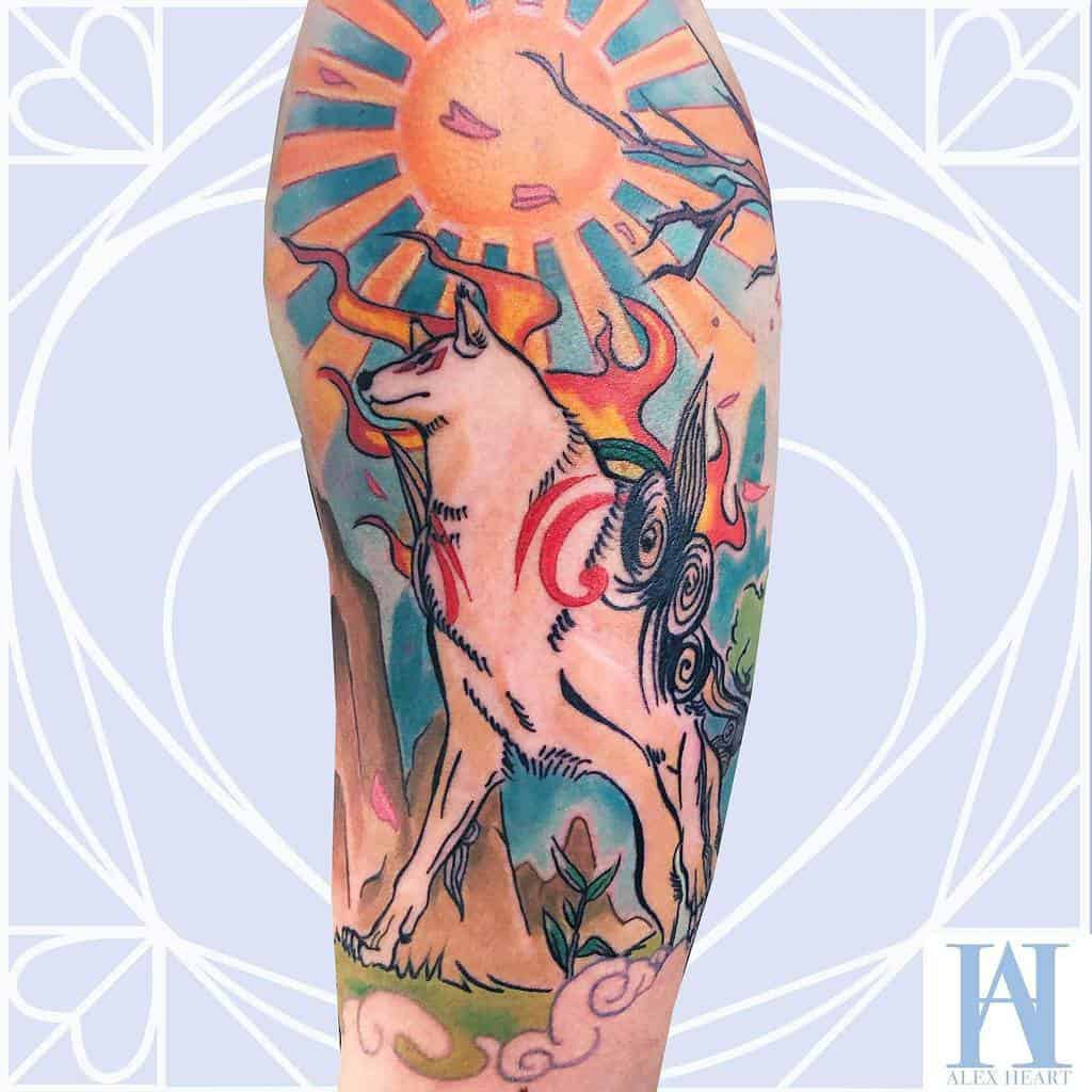 arm japanese wolf tattoo thisisalexheart