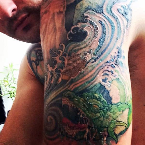 Arm Kanagawa Wave Male Tattoo