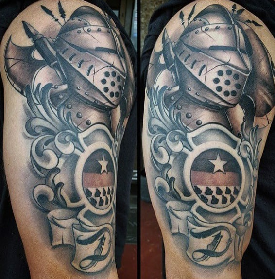 Arm Knight Cavalryman Tattoos For Men