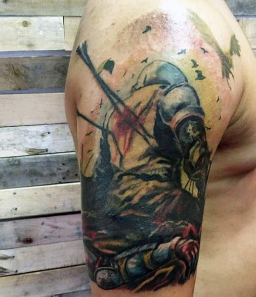 Arm Knighthood Tattoos For Men