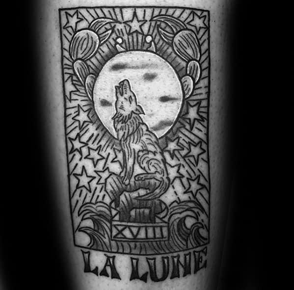 Arm La Lune Card Tarot Male Tattoos