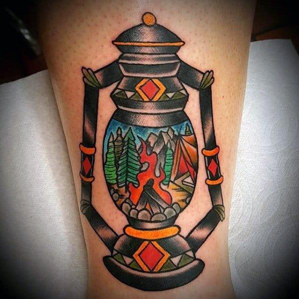 Arm Lantern Incredible Camping Tattoos For Men