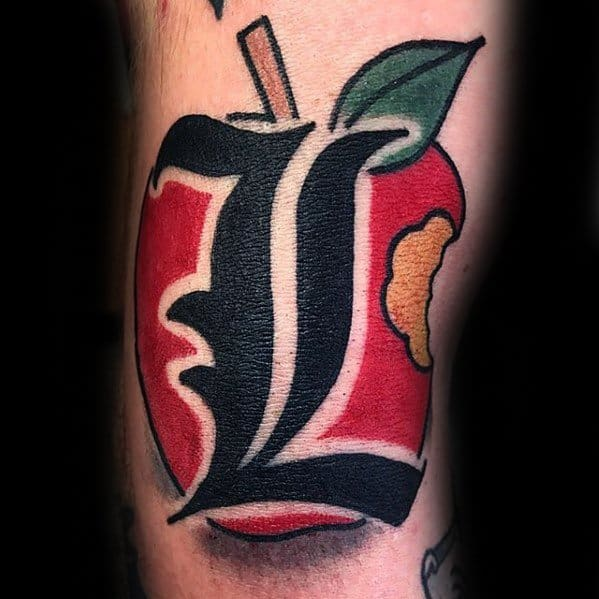 Arm Letter L Apple Death Note Mens Tattoo Designs