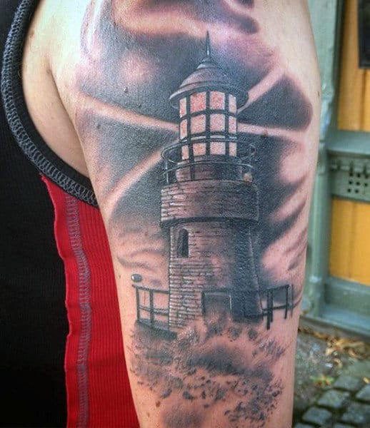 Arm Lighthouse Tattoo Ideas For Men In Black Ink