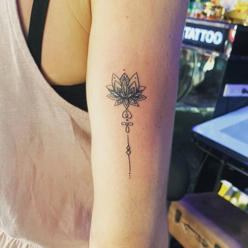 Arm Line Work Black Unalome Tattoo