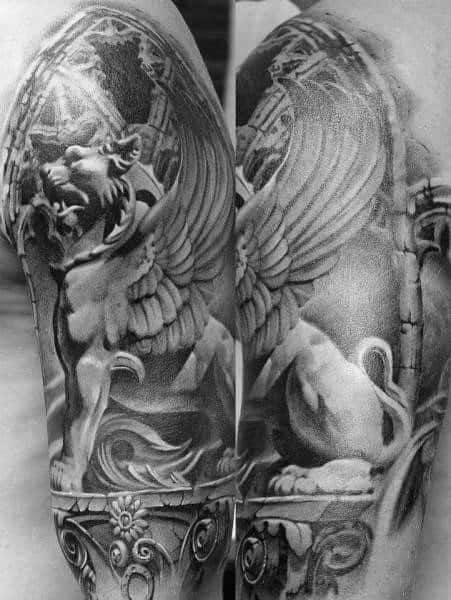 Arm Lion Statue Tattoo Designs For Guys