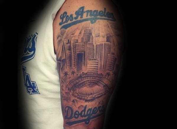 Arm Los Angeles Skyline Dodgers Tattoo Ideas For Gentlemen