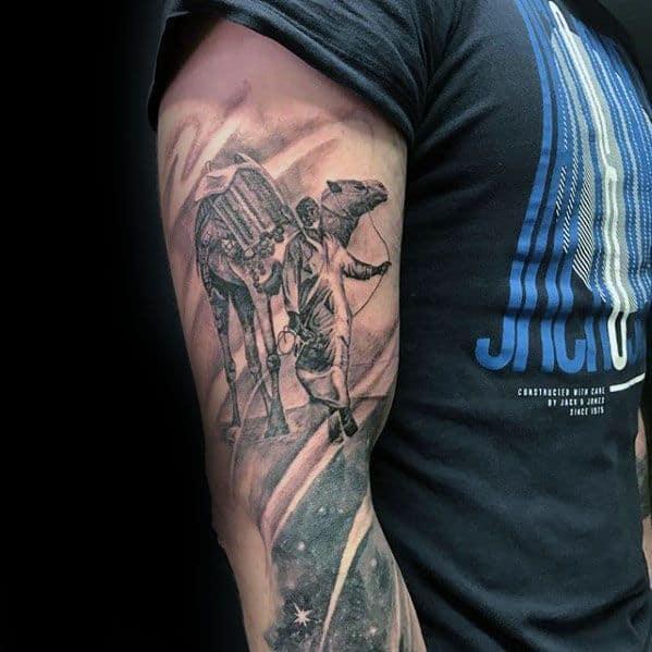 Arm Male Camel Sleeve Tattoo Designs