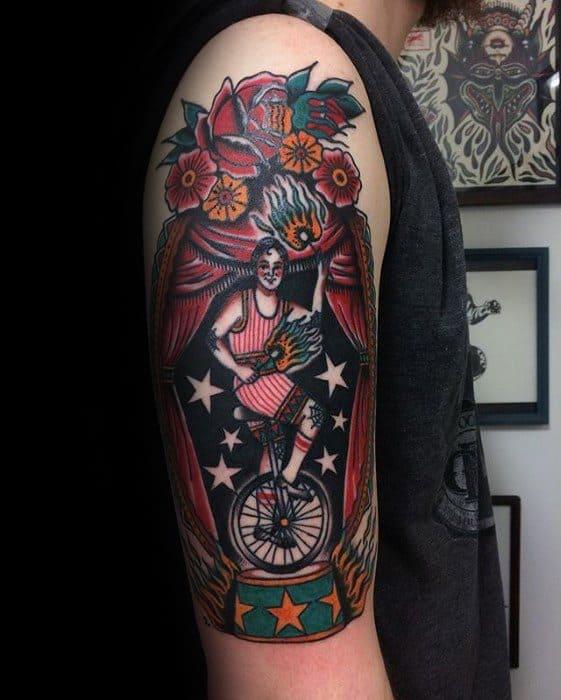 Arm Male Circus Tattoo Ideas