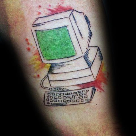 Arm Male Computer Tattoo Design Inspiration