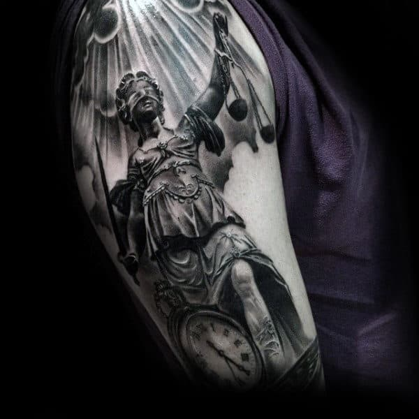 Arm Male Lady Justice Tattoo Inspiration