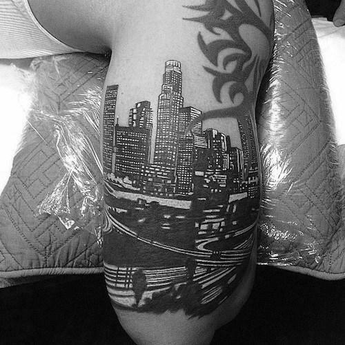 Arm Male Los Angeles Skyline Tattoo Design Inspiration