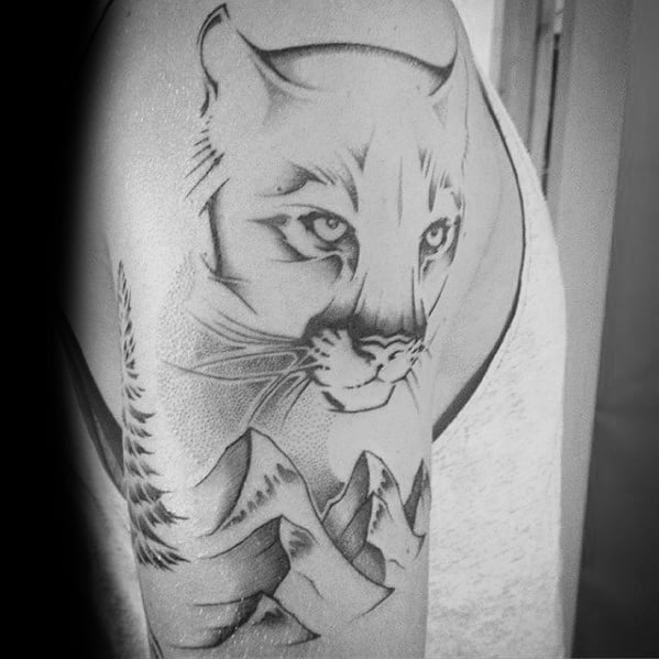 Arm Male Mountain Lion Tattoo Design Inspiration