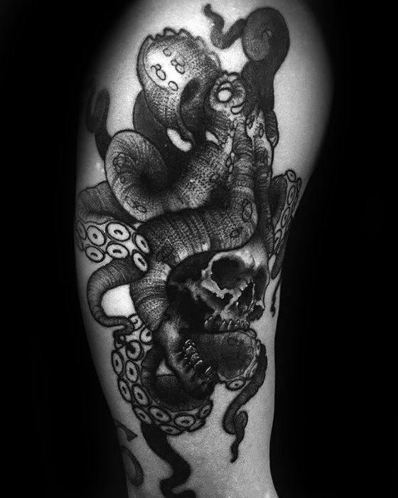 Arm Male Octopus Skull Tattoo Design Inspiration