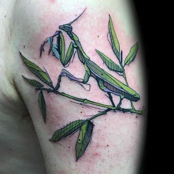 Arm Male Praying Mantis Tattoo Ideas
