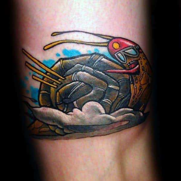 Arm Male Racing Snail Tattoo Ideas