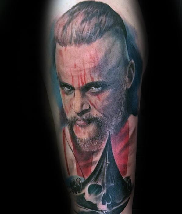 Arm Male Ragnar Portrait Vikings Tattoo
