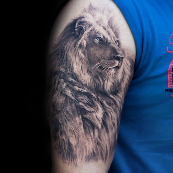 Arm Male Shaded Realistic Lion Tattoo Designs On Arm