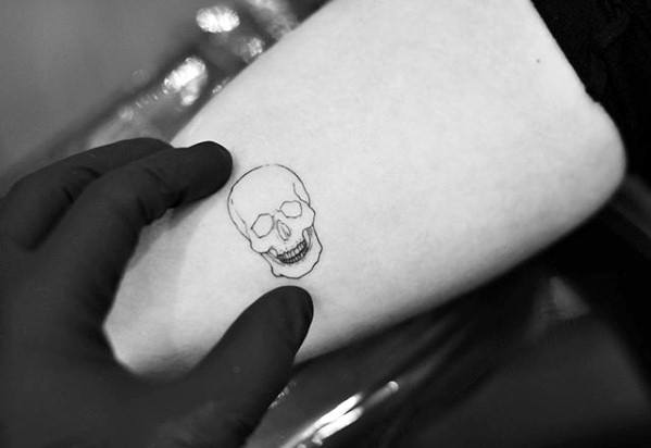 Arm Male Simple Skull Tattoo With Small Design