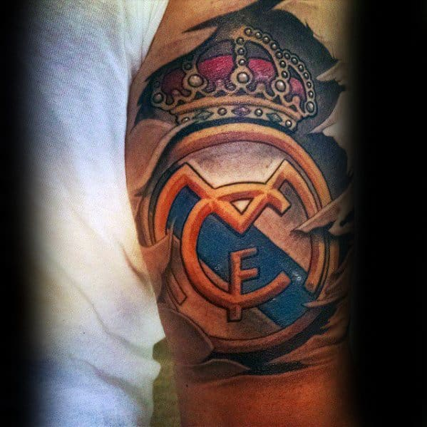 Arm Male Tattoo With Real Madrid Design