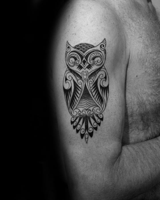 Arm Male Tribal Owl Tattoo Designs