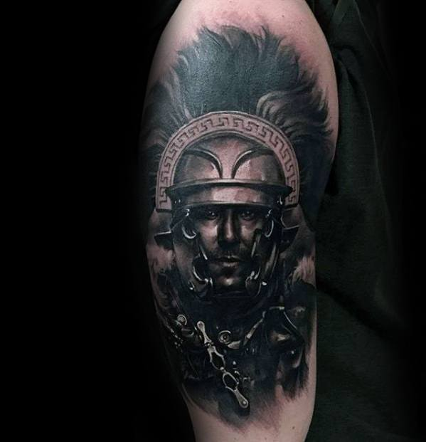 Arm Male With Cool Portrait Tattoo Design