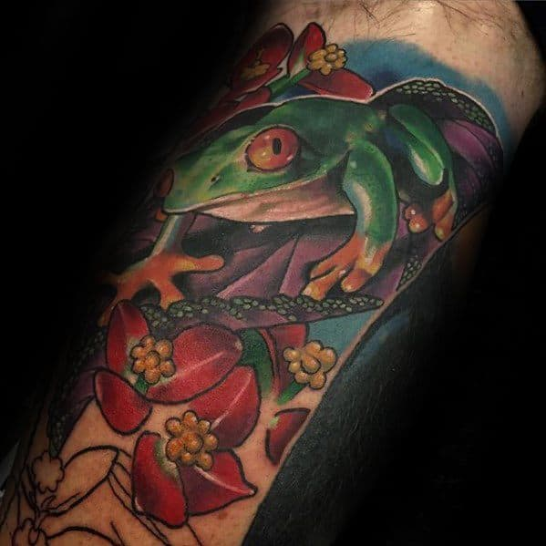 Arm Manly Tree Frog Tattoo Design Ideas For Men