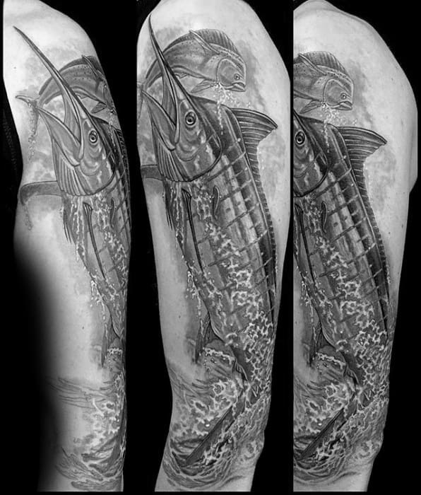 Arm Marlin Tattoo Ideas On Guys