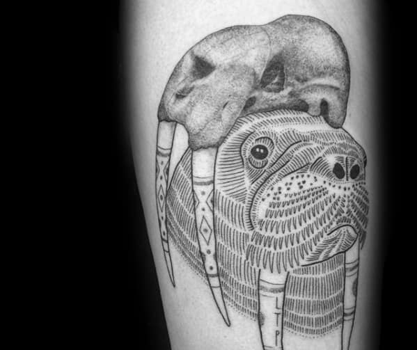 Arm Masculine Walrus Tattoos For Men