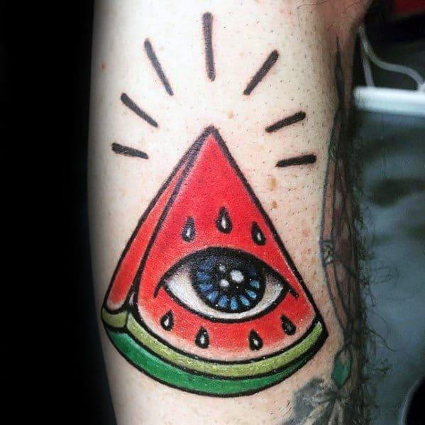 Arm Masculine Watermelon Eye Tattoos For Men