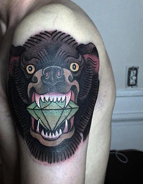 Arm Men's Bear Skull Tattoo With Diamond