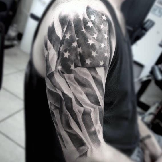 Arm Mens Black And White American Flag Tattoo