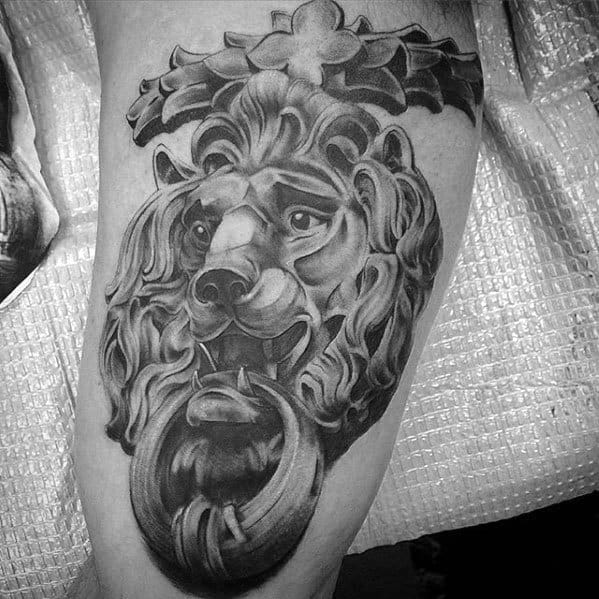 Arm Mens Lion Statue Tattoo Design Ideas