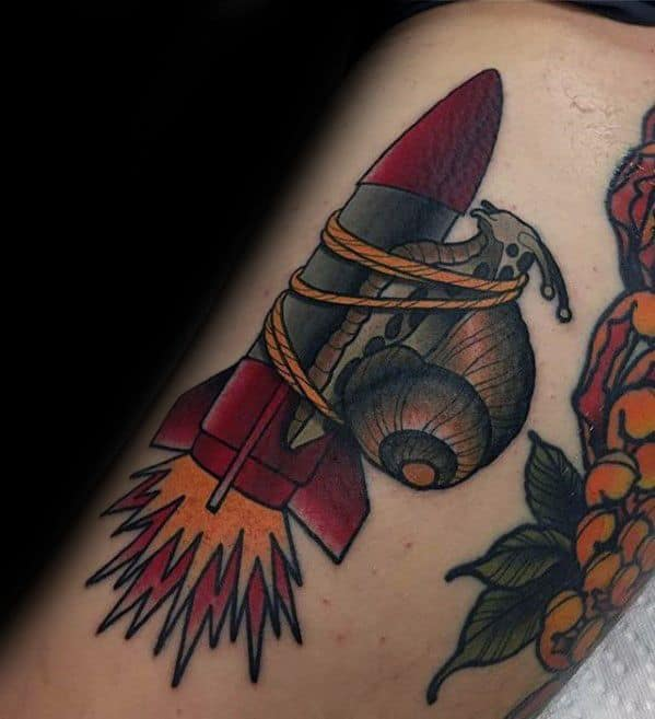 Arm Mens Tattoo Ideas With Snail Rocket Design