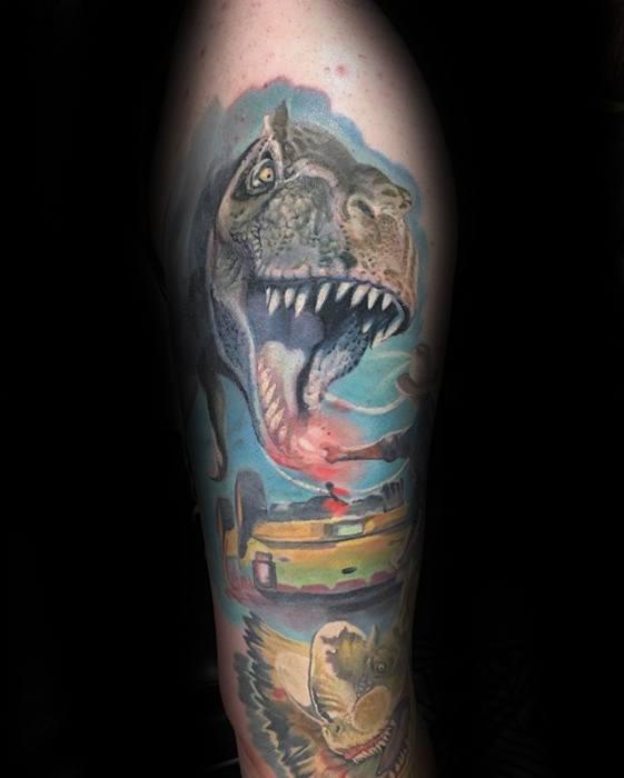 Arm Mens Tattoo Jurassic Park Design