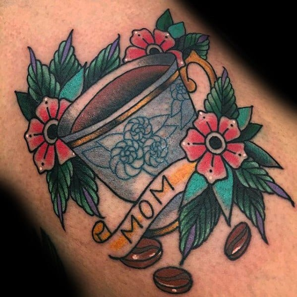 Arm Mens Traditional Mom Banner With Coffee Cup Tattoo Design Inspiration