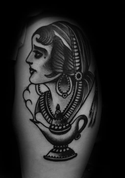 Arm Old School Traditional Female Portrait With Genie Lamp Guys Tattoos