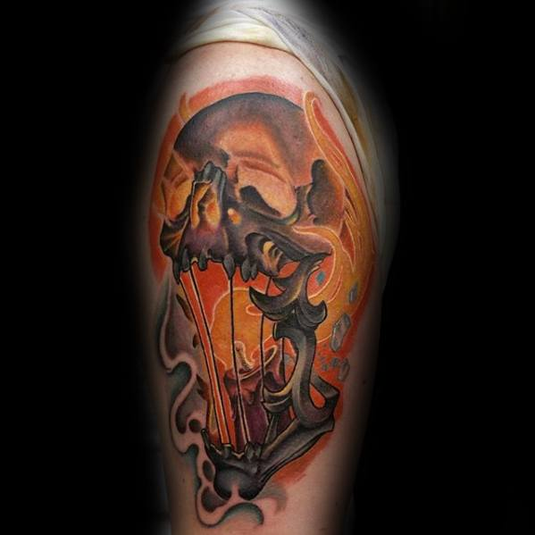Arm Orange Flaming Skull Tattoo Ideas For Gentlemen
