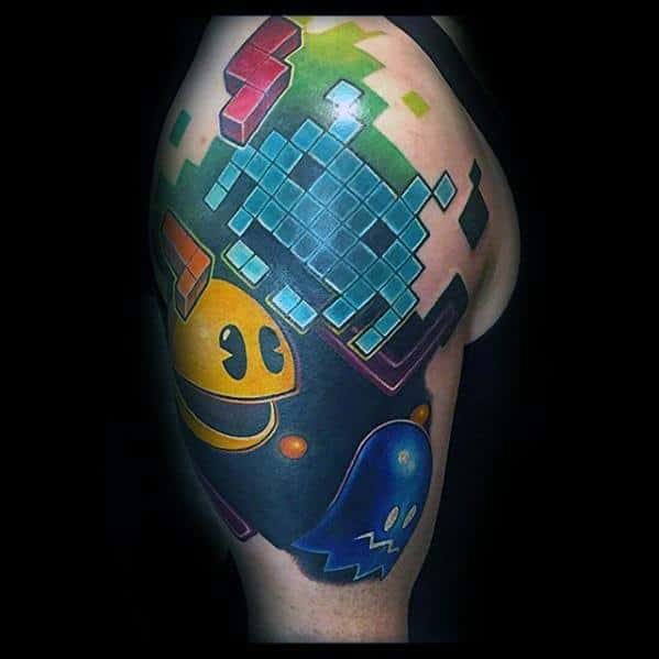 Arm Pacman With Tetris Tattoo Ideas For Males