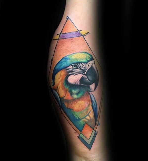 Arm Parrot Mens Tattoo Designs
