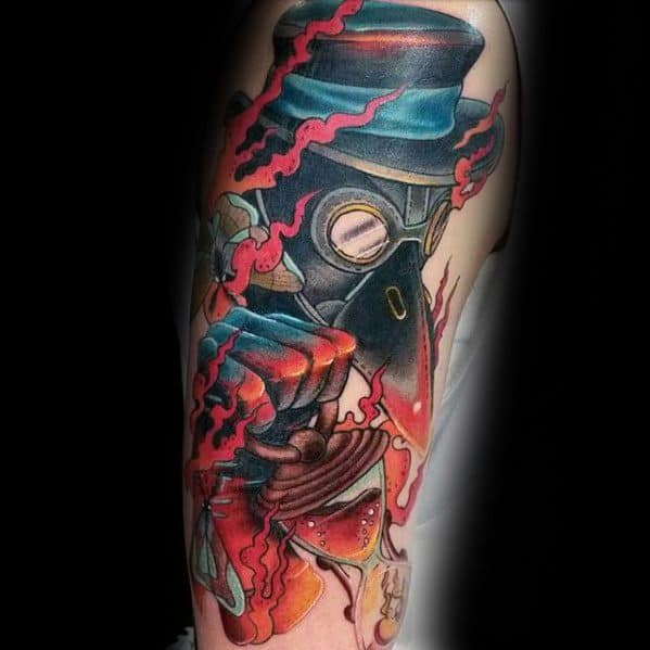 Arm Plague Doctor Male Tattoo Designs